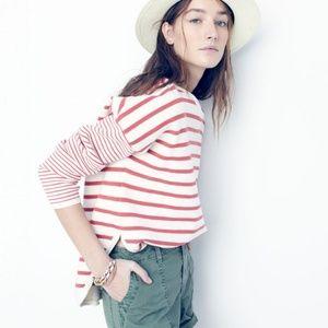 {madewell} striped curved hem sweater